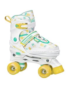 Girls Adjustable Quad Roller Skates (adjustable size 3-6) - Pineapple
