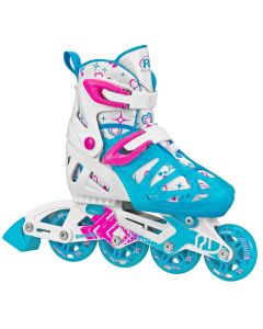 Tracer Girl's Adjustable Inline Skates (White/Blue)